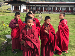 Monastery students in traditional dress