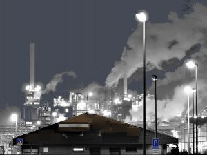 Street lights in pollution