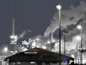 Street lights in pollution